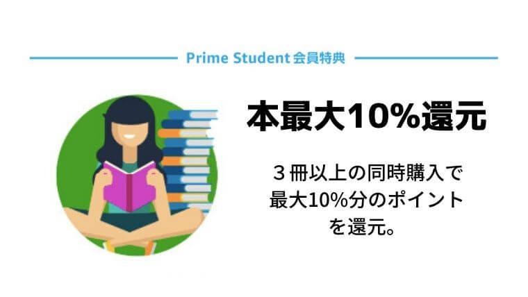 Amazon Prime Student(アマゾンプライムスチューデント)の会員特典・本最大10%還元
