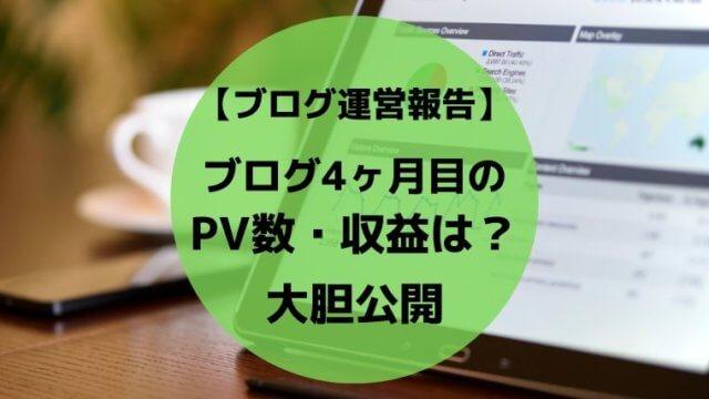 ブログ4ヶ月目のPV数・収益を大胆公開